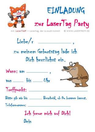 kindergeburtstag in hamburg mit lasertreff feiern! lasertag, Einladung